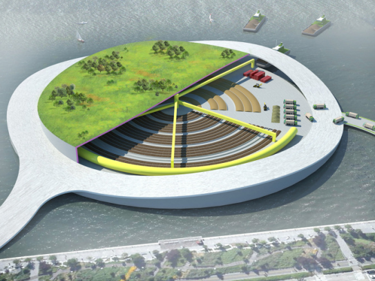 An artist's visualisation of a compost park on the Hudson River, Manhattan (source: presentarchitecture.com)