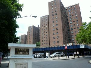 A typical NYCHA development with scaffolding.