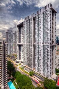 A public housing tower in Singapore. Modern, clean, owned by tenants.