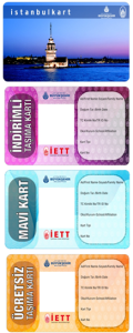 The three versions of Istanbul's contactless municipal ID card, each with a different fare level. source: IETT